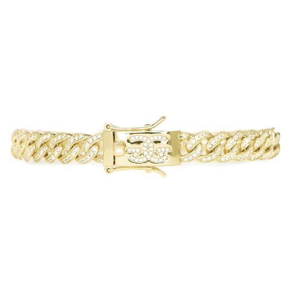 Micro Diamond Cuban Link Bracelet 8mm Gold Gods®  front view gold