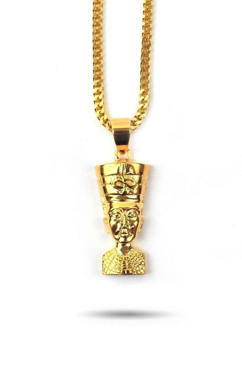 Nefertiti Gold Necklace Pendant & Franco Box Gold Chain Gold Golds® front view