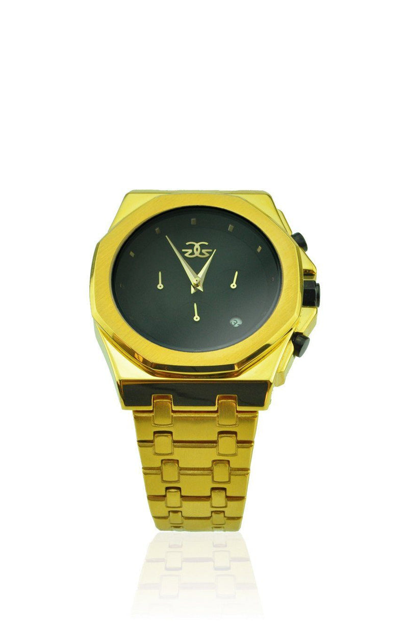 The Octavius Chrono Watch in Gold with Black Face