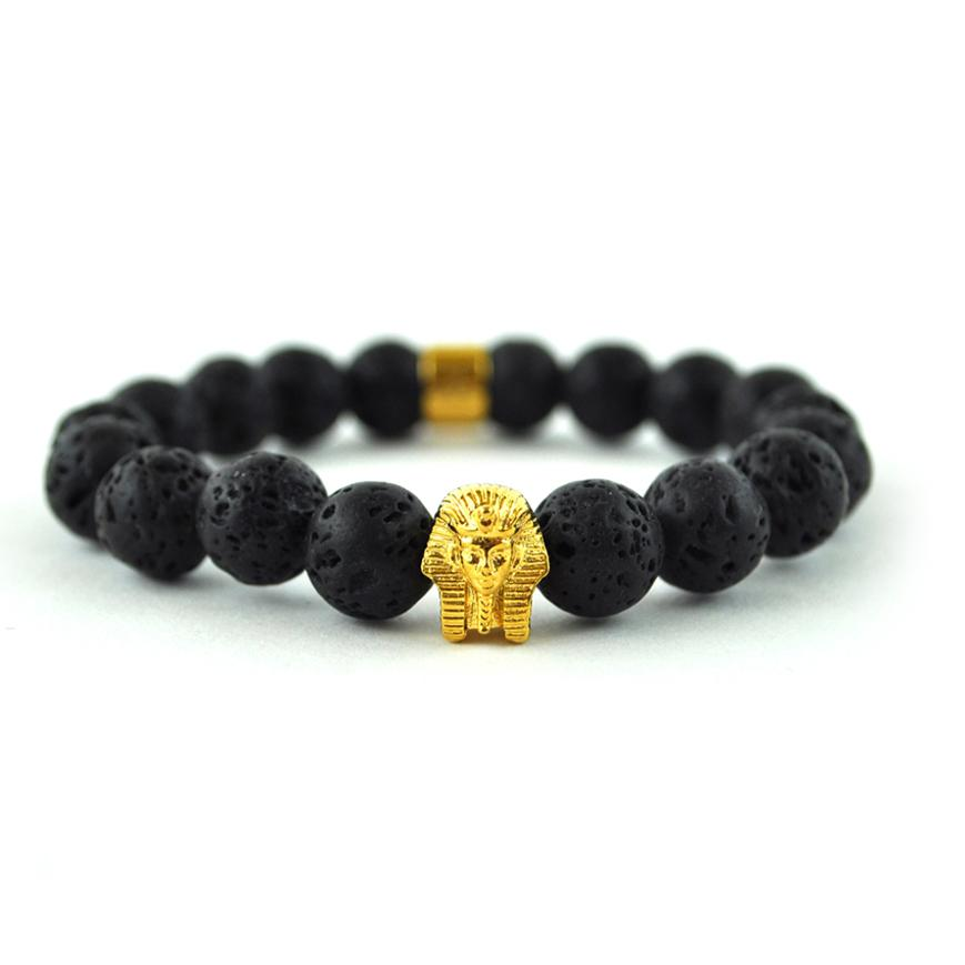 Lava Stone Pharaoh Beaded Bracelet