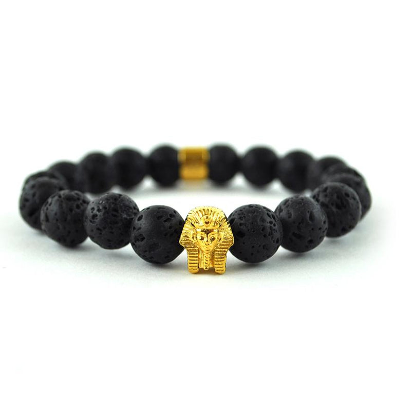 Lava Stone Pharaoh Beaded Bracelet Gold Gods® close up view
