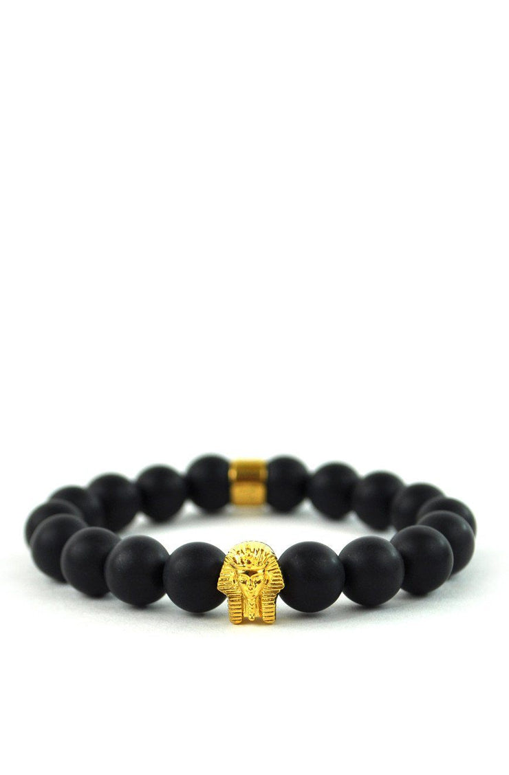 Matte Black Pharaoh Beaded Bracelet