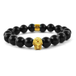 Glossy Black Pharaoh Beaded Bracelet Gold Gods® close up view