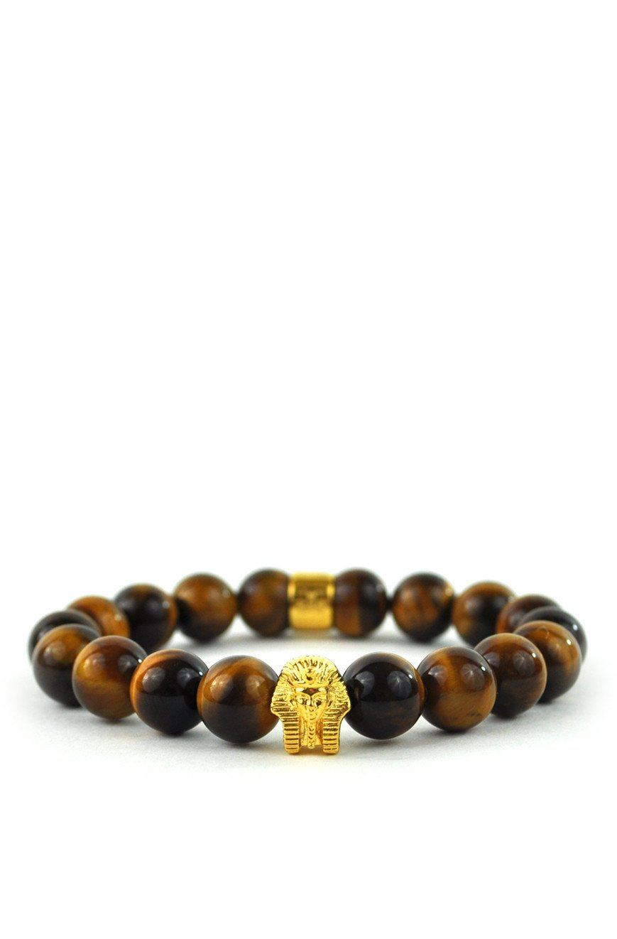 Tiger Eye Gemstone Pharaoh Beaded Bracelet