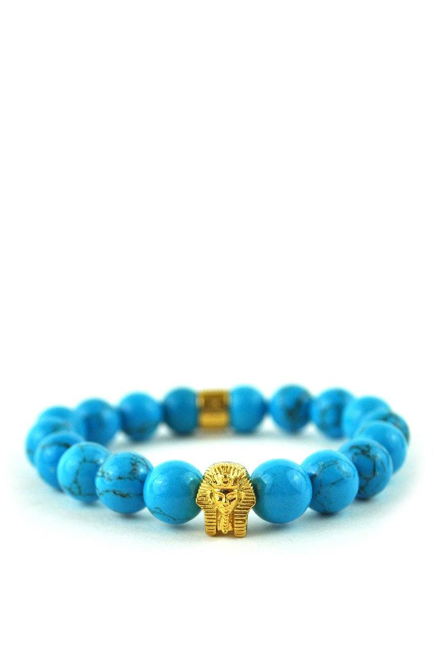 Turquoise Gemstone Pharaoh Beaded Bracelet