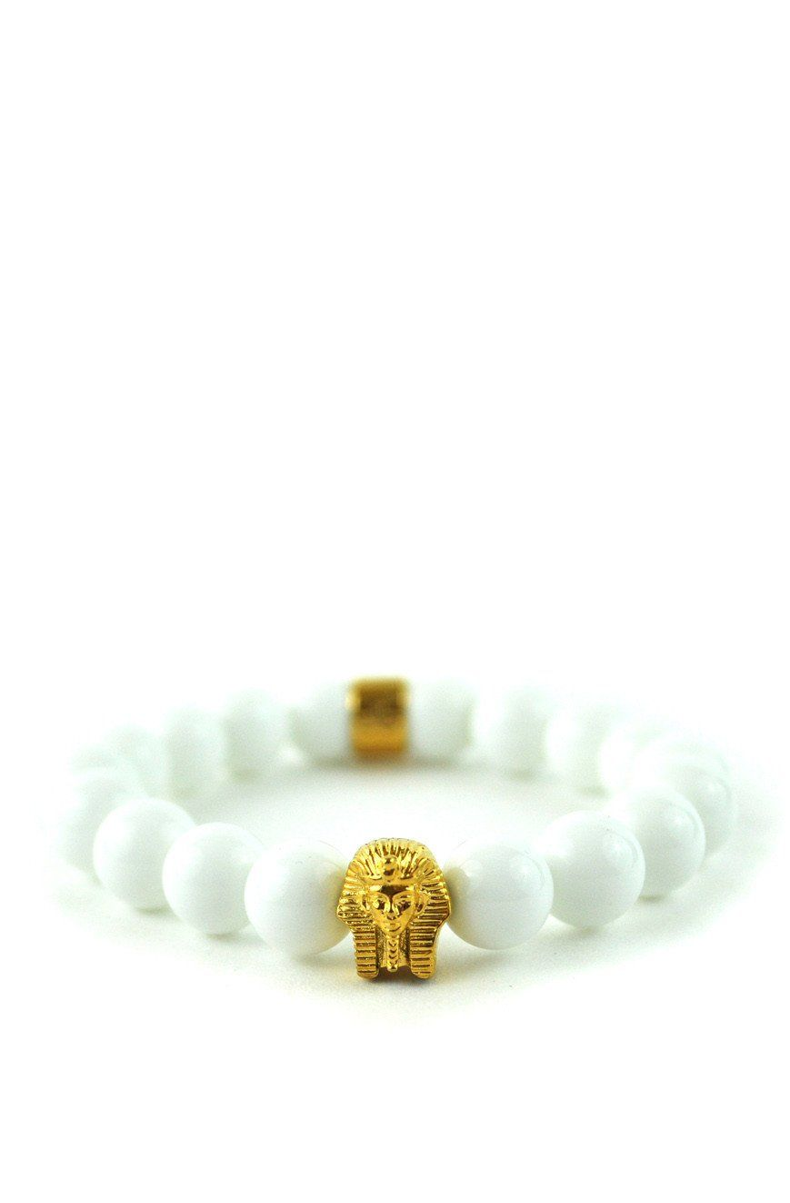 Glossy White Pharaoh Beaded Bracelet
