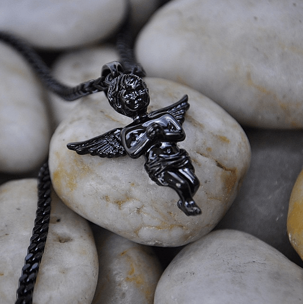 Micro Angel Piece Black Rhodium Gold Gods® top side view