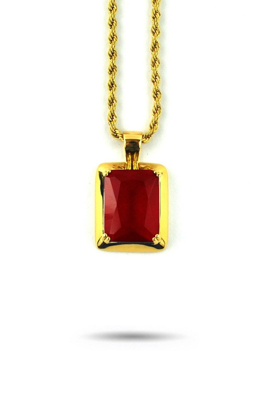 ruby pendant necklace   the gold gods jewelry