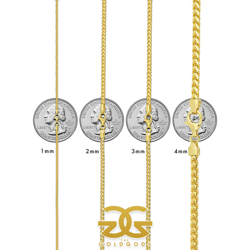 Solid Gold Curved Franco Chain Size Chart | Gold Gods