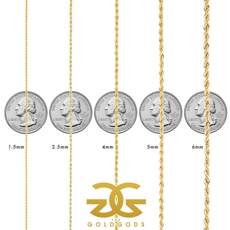 Rope Chain size chart