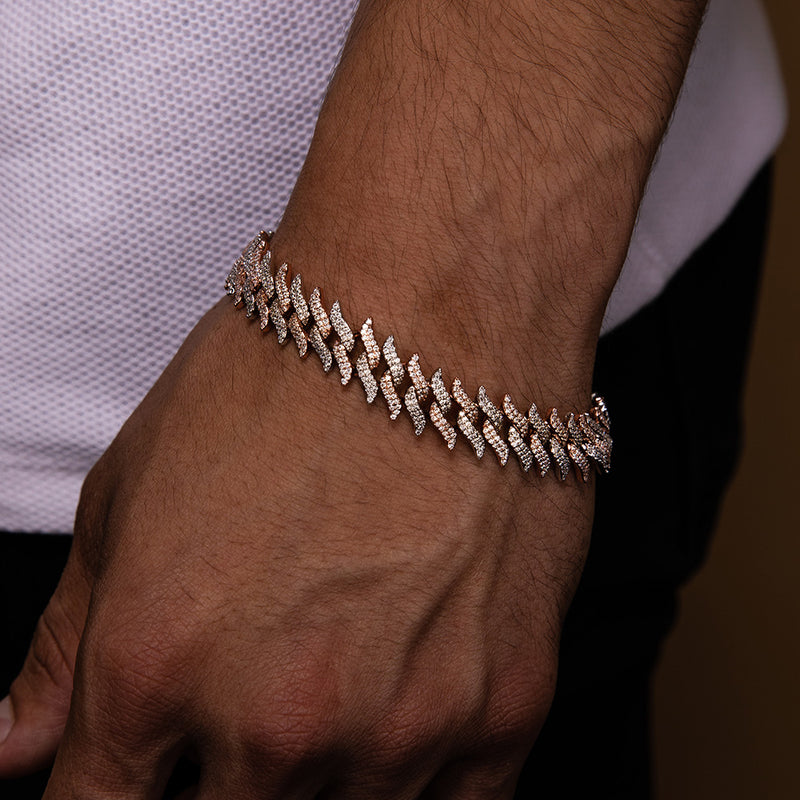 Diamond Spiked Laurel Cuban Bracelet Gold Gods®  lifestyle look 3