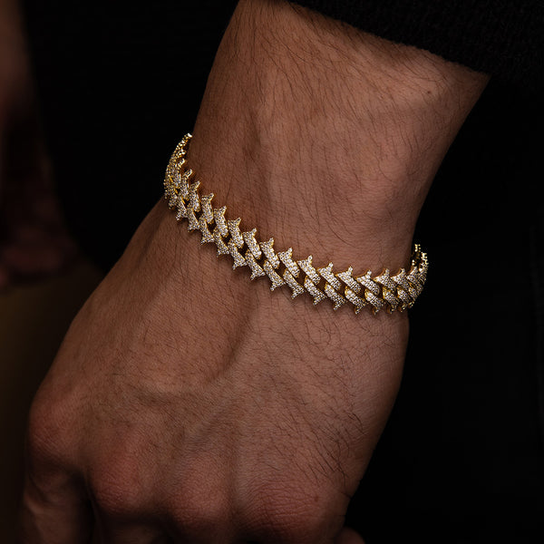 Diamond Spiked Cuban Bracelet Gold Gods® lifestyle look