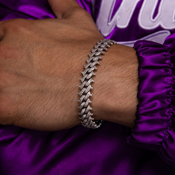 Diamond Spiked Cuban Bracelet Gold Gods® lifestyle look 2 white gold
