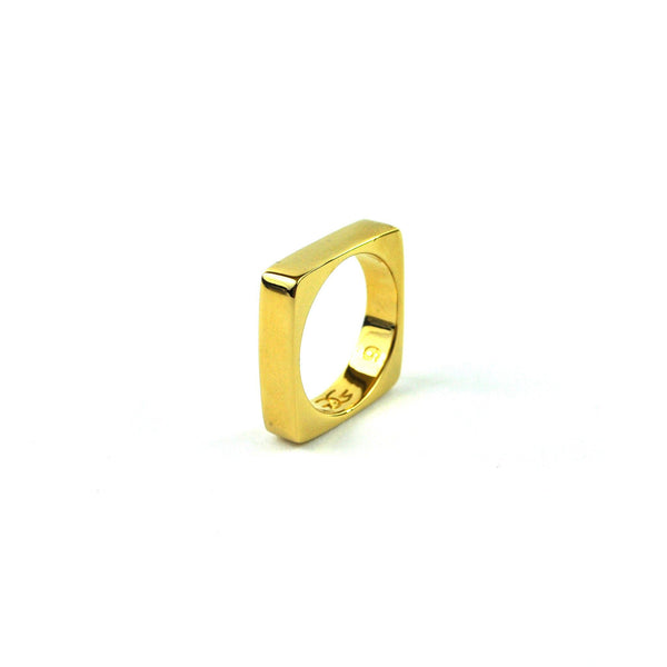 Gold Square Ring Gold Gods® side view 2