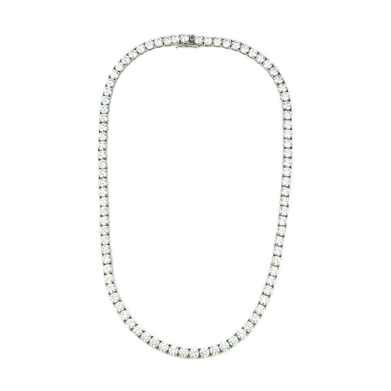 6mm Diamond Tennis Chain in White Gold Gold Gods® front view 2