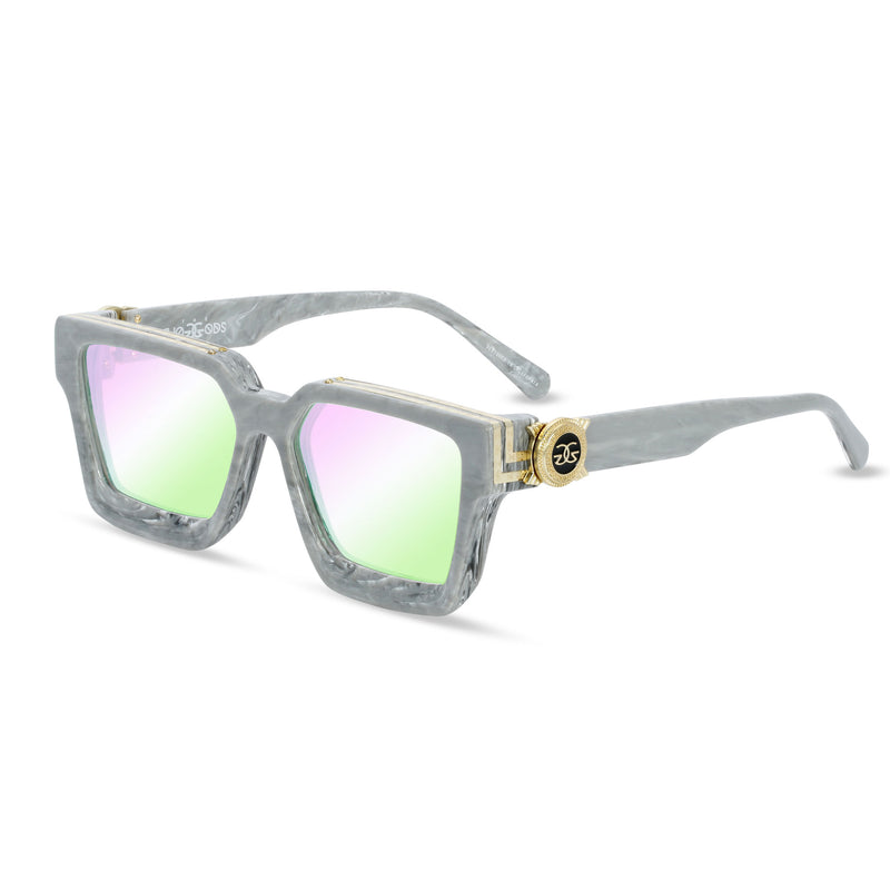 The Virgil Designer LV Sunglasses Gold Gods Gray Marble Crystal Multi Flash