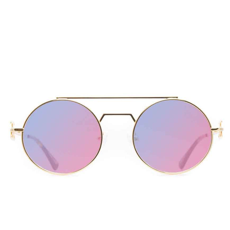 The Visionaries Gold Designer Sunglasses Gold Gods Red Blue Flash