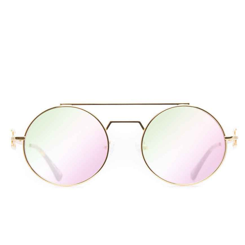 The Visionaries Gold Designer Sunglasses Gold Gods Crystal Multi Flash