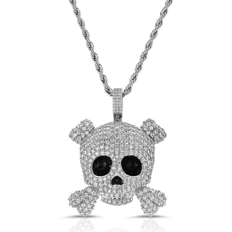 Diamond Skull Pendant with Rope Chain