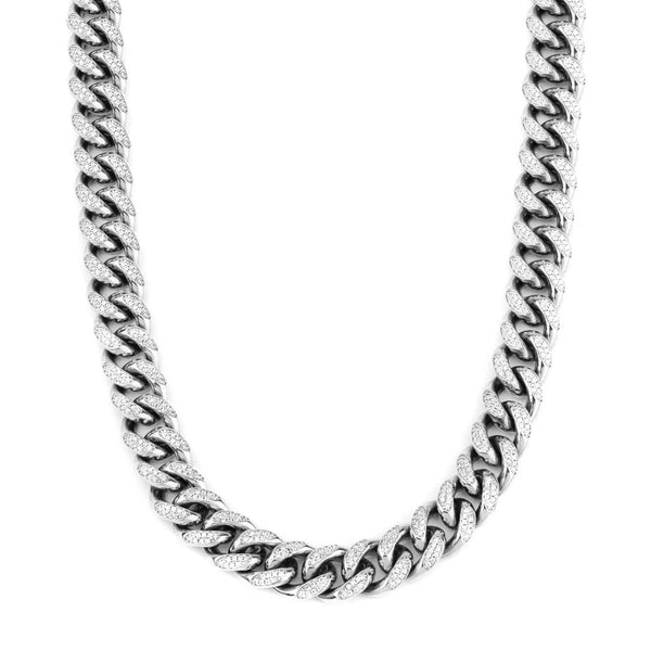 Diamond Cuban Link Chain in White Gold 10mm Front Gold Golds®