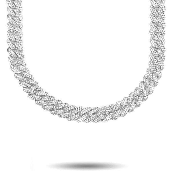 White Gold 12mm Flooded Diamond Cuban Link Chain
