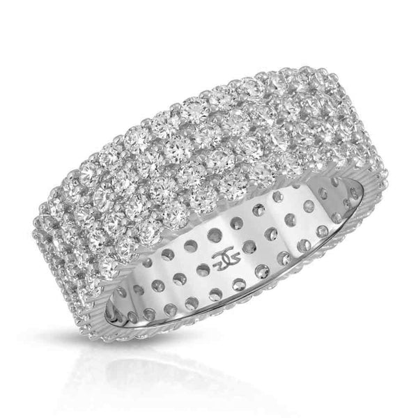 Diamond 4-Row Stacked Eternity Ring in White Gold Gold Gods®
