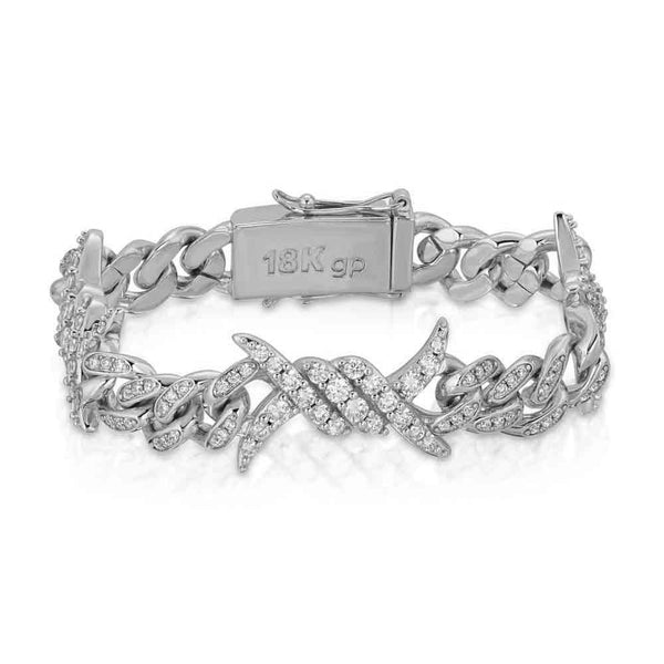 Diamond Barbwire Cuban Link Bracelet