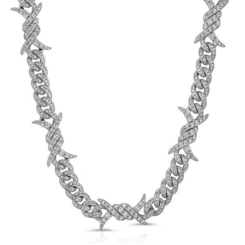 Diamond Barbwire Cuban Link Chain