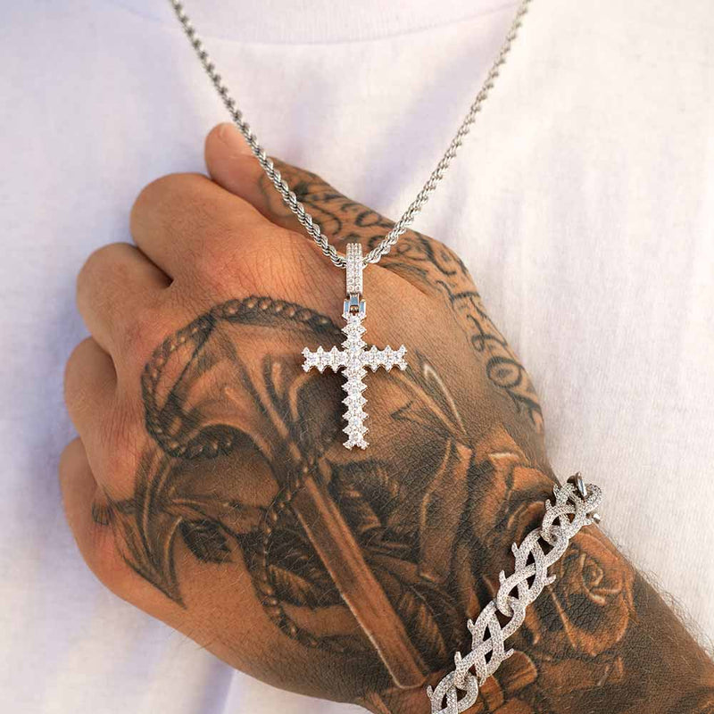 Flooded Diamond Cross Necklace in White Gold - Gold God® Lifestyle look
