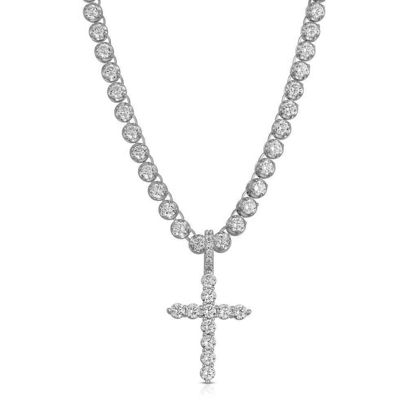 Diamond Cross with Tennis Chain White Gold Gods Front