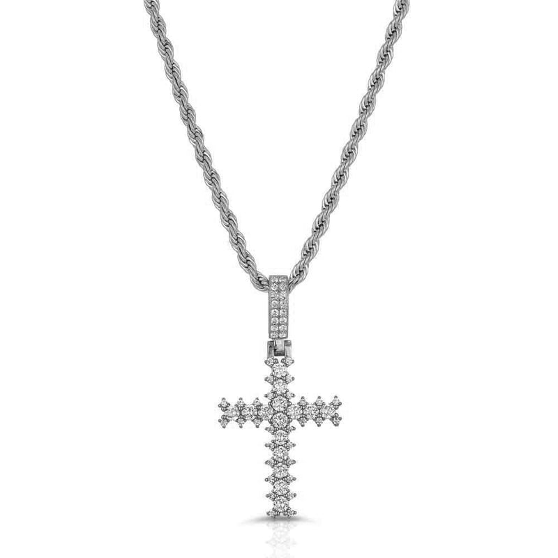 Diamond Cross Necklace & Mens Rope Gold Chain Gold Gods® White Gold