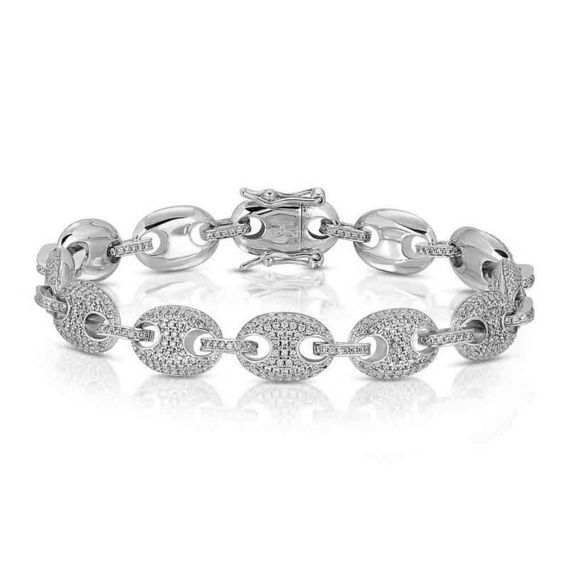 Diamond Gucci Link Bracelet Gold Gods® White Gold