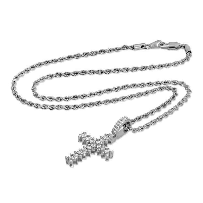 Flooded Diamond Cross Necklace in White Gold - Gold God® side view