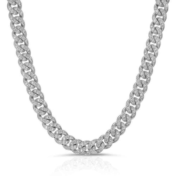 White Gold Miami Diamond Cuban Link Chain 8mm Gold Gods® full view