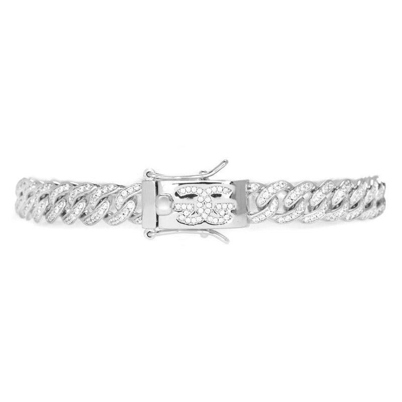 Micro Diamond Cuban Link Bracelet 8mm Gold Gods®  front view white gold