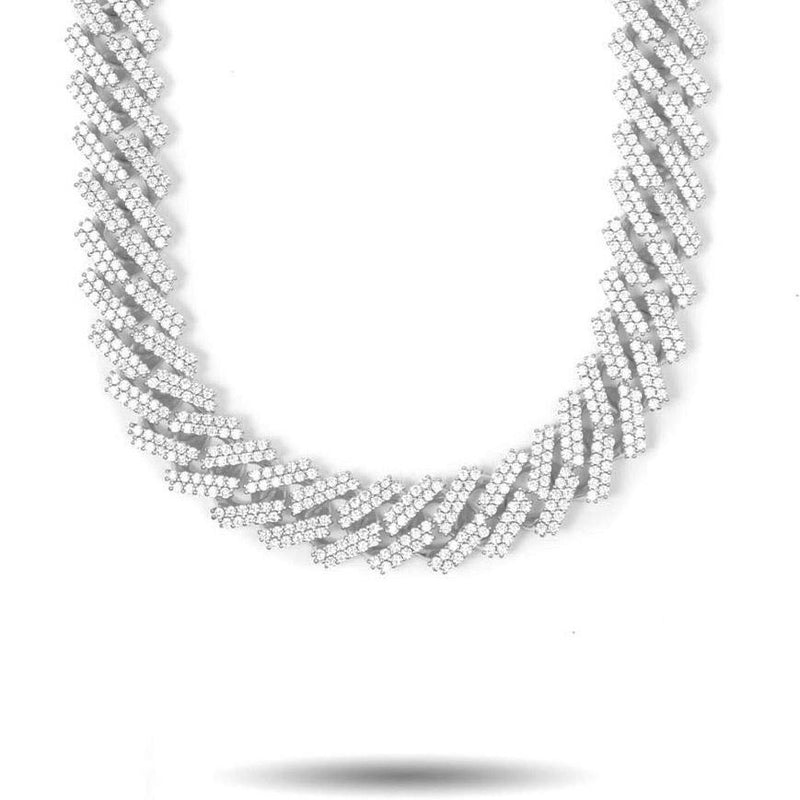 15mm Straight Edge Diamond Cuban Link Chain in White Gold