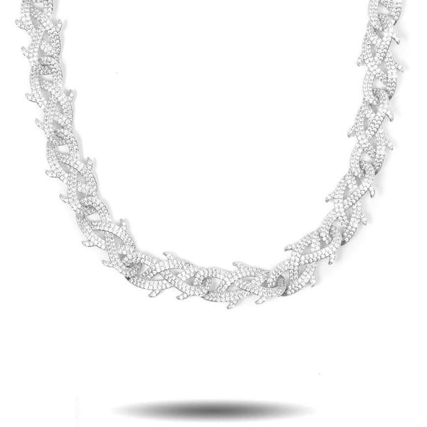 Diamond Crown of Thorns Chain in White Gold-Gold Gods-front-view