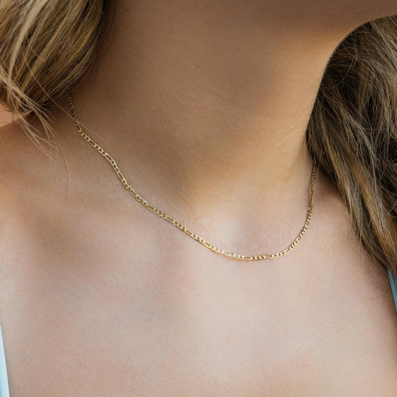 Women's Solid Gold Figaro Chain