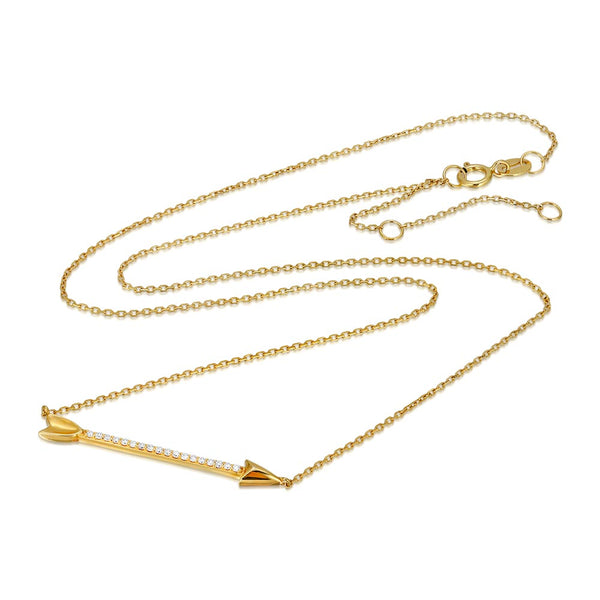 Women's 14k Solid Gold Diamond Arrow Necklace Zoom 1 | Gold Goddess
