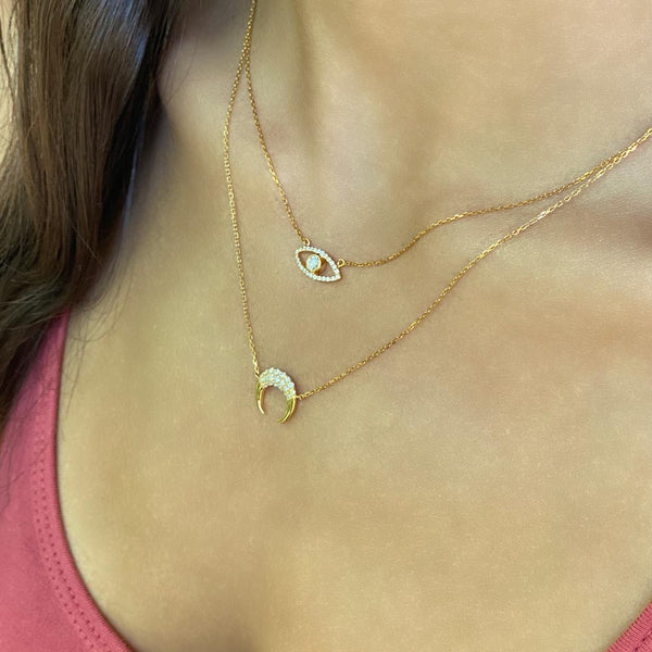 Women's 14k Solid Gold Diamond Crescent Moon Necklace Layered Gold Goddess