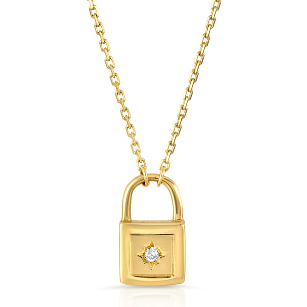 Women's 14k Solid Gold Diamond Lock Necklace Layered | Gold Goddess 2
