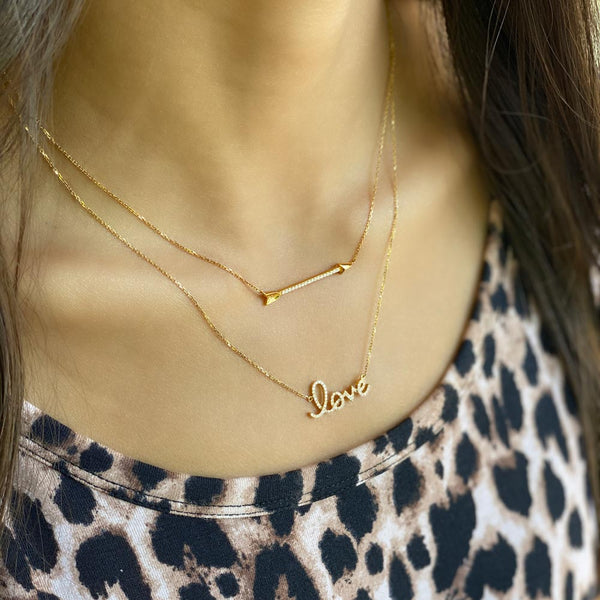 Women's 14k Solid Gold Diamond Arrow Necklace | Gold Goddess