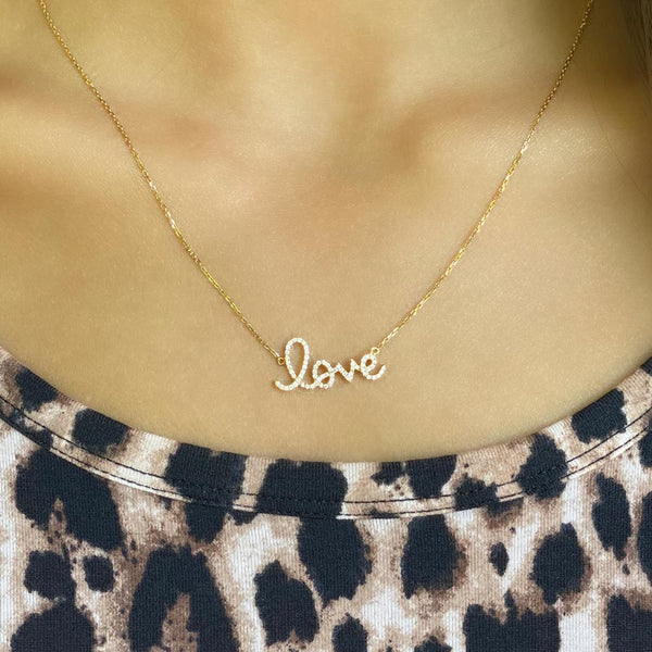 Women's 14k Solid Gold Diamond Love Mini Necklace Zoom | Gold Goddess