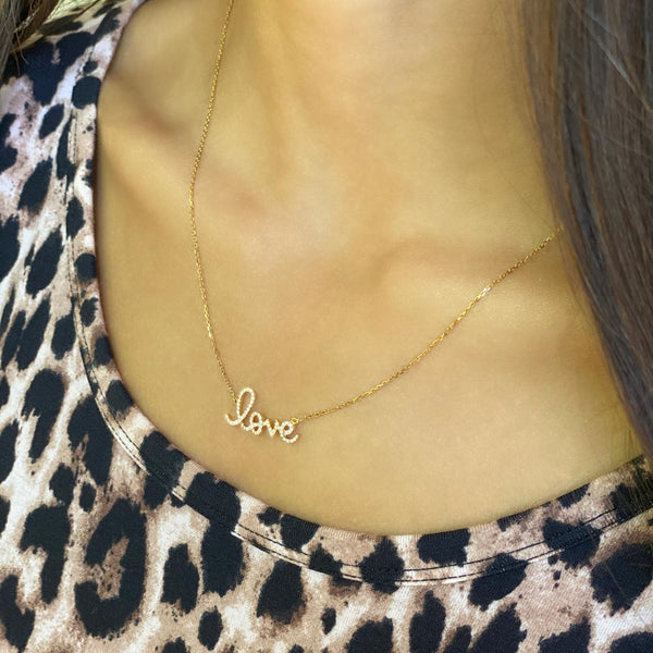 Women's 14k Solid Gold Diamond Love Mini Necklace | Gold Goddess