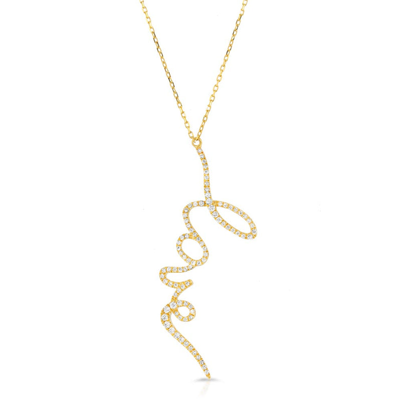 Women's 14k Solid Gold Diamond Love Necklace Layered Front | Gold Goddess® 2