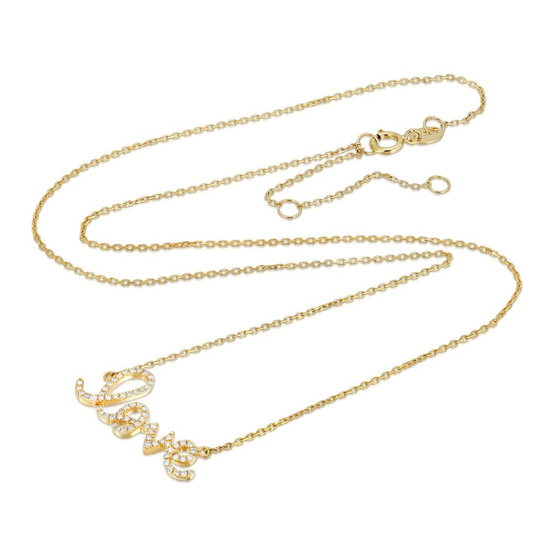 Women's 14k Solid Gold Diamond Love Mini Necklace | Gold Goddess 2