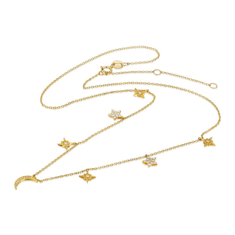 Women's 14k Solid Gold Diamond Moon and Stars Necklace Front | Gold Goddess 3