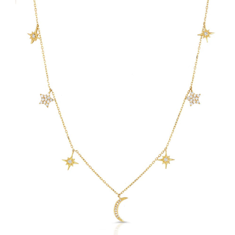 Women's 14k Solid Gold Diamond Moon and Stars Necklace Front | Gold Goddess 2