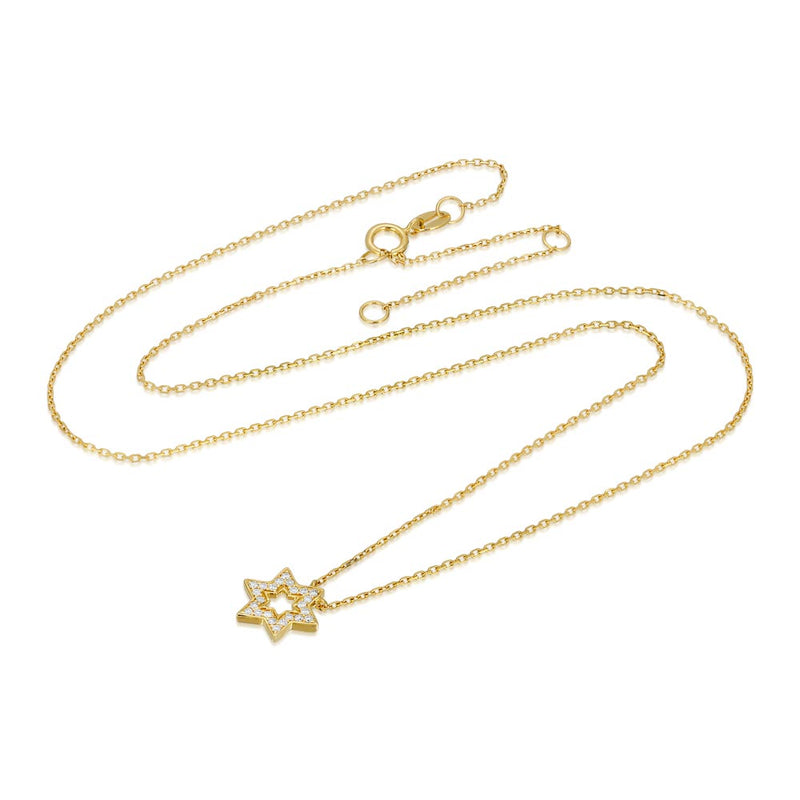 Women's 14k Solid Gold Diamond Star of David Necklace Gold Goddess® 3