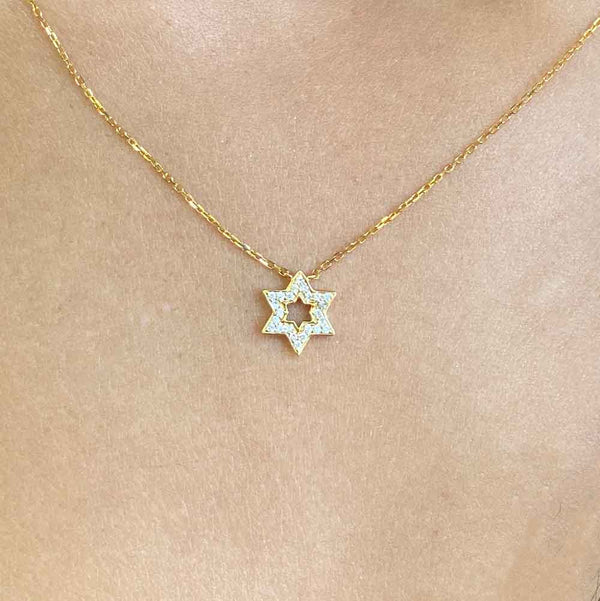 Women's 14k Solid Gold Diamond Star of David Necklace Zoom Gold Goddess®